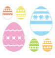 set of colored easter eggs isolated on a white vector image