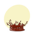 side view splash of chocolate realistic hand vector image