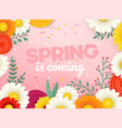 spring sale banner photoreal with flowers vector image