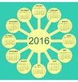 Sunny circles calendar 2016 new year vector image