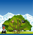 tree with bird and animals on glade vector image