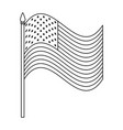 united states america flag in pole with waves vector image vector image