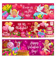 valentines day lettering cupids symbols love vector image vector image