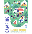 vertical poster template for camping festival vector image vector image