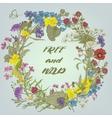 vintage doodle floral wreath vector image vector image