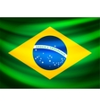 Waving fabric flag of Brazil vector image
