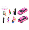 women only taxi service concept smartphone vector image vector image
