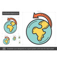 worldwide shipping line icon vector image vector image