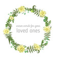 wreath with herbs and leaves isolated on white vector image vector image