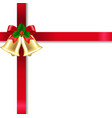 xmas golden banner with bells and white background vector image vector image