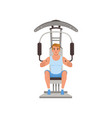 young man flexing muscles on trainer gym machine vector image