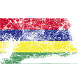 Flag of Mauritius with old texture vector image