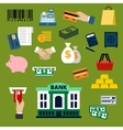 Business finance banking and shopping flat icons vector image