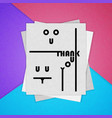 colorful poster the material design thank you vector image