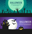 Set of Halloween Web Banners Design Concepts for vector image