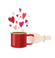 valentines day woman hand holding red cup latte vector image