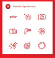 9 objective icons vector image vector image