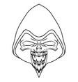 black skull on white background vector image vector image