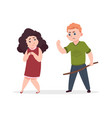 bullying angry boy threatens little girl vector image vector image