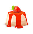 cheesecake with strawberry on white - whole cake vector image vector image