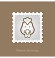 Chicken stamp Animal head vector image