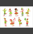 children dressed as santa claus christmas elves vector image