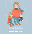 christmas card with cute child and toy rabbit vector image vector image