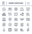 christmas new year flat line icons winter vector image