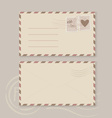 Collection of love envelopes with postage stamps vector image
