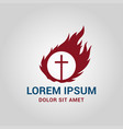 cross in circle with fire - church sign vector image