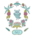 Cute cartoon owls in frame of leaves and vector image