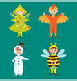 cute kids wearing christmas costumes vector image vector image