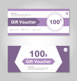 Cute purple gift voucher template layout set vector image vector image