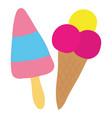 delicious ice cream in cone and stick vector image