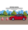 driving school banner vehicle on road auto drive vector image vector image