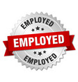 employed 3d silver badge with red ribbon vector image vector image