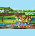 family riding bicycle in park vector image vector image