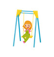 girl having fun and ride on a swing kid on a vector image