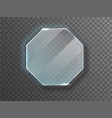 glass octagon badge with a place for inscriptions vector image vector image