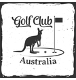 Golf club concept with kangaroo silhouette vector image vector image
