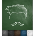 hairstyle and mustache icon vector image