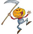 Halloween Pumpkin Head Jack With A Scythe vector image vector image