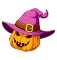 halloween pumpkin with witch hat vector image vector image