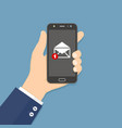 hand holding smartphone with email icon flat vector image