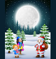 happy christmas with a santa claus in winter vector image vector image