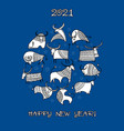 happy new year card 2021 funny bulls family vector image vector image