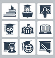 higher education icons set vector image