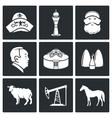 Kazakh culture Icons Set vector image vector image