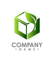 logo concept leafs and square abstract sign vector image vector image