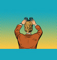 lookout businessman with binoculars vector image